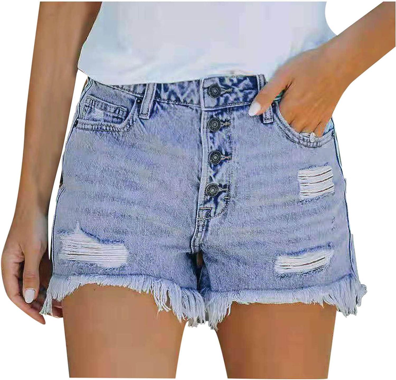 LURUA Ripped Denim Beach Shorts for Women's High Waist Holiday Shorts Drawstring Casual Shorts with Pockets