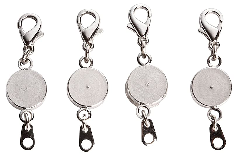 Miles Kimball Locking Magnetic Jewelry Clasps - Set Of 4, Silvertone, One Size
