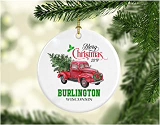 Christmas Decoration Tree Merry Christmas Ornament 2019 Burlington Wisconsin Funny Gift Xmas Holiday as a Family Pretty Rustic First Christmas in Our New Home Ceramic 3