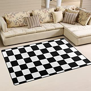 DEYYA Custom Checkered Non-Slip Area Rugs Pad Cover 60 x 39 Inch, Black White Checkered Pattern Throw Rugs Carpet Modern Carpet for Home Dining Room Playroom Living Room Decoration