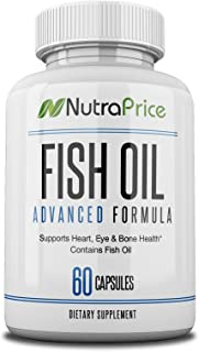 NutraPrice Fish Oil 2000 mg with Omega-3 Fatty Acids EPA and DPA, Daily Supplement for Men and Women, Advanced Formula to Support Heart, Eye, Bone, Joint Health, Made in USA, 60 Softgel Capsules