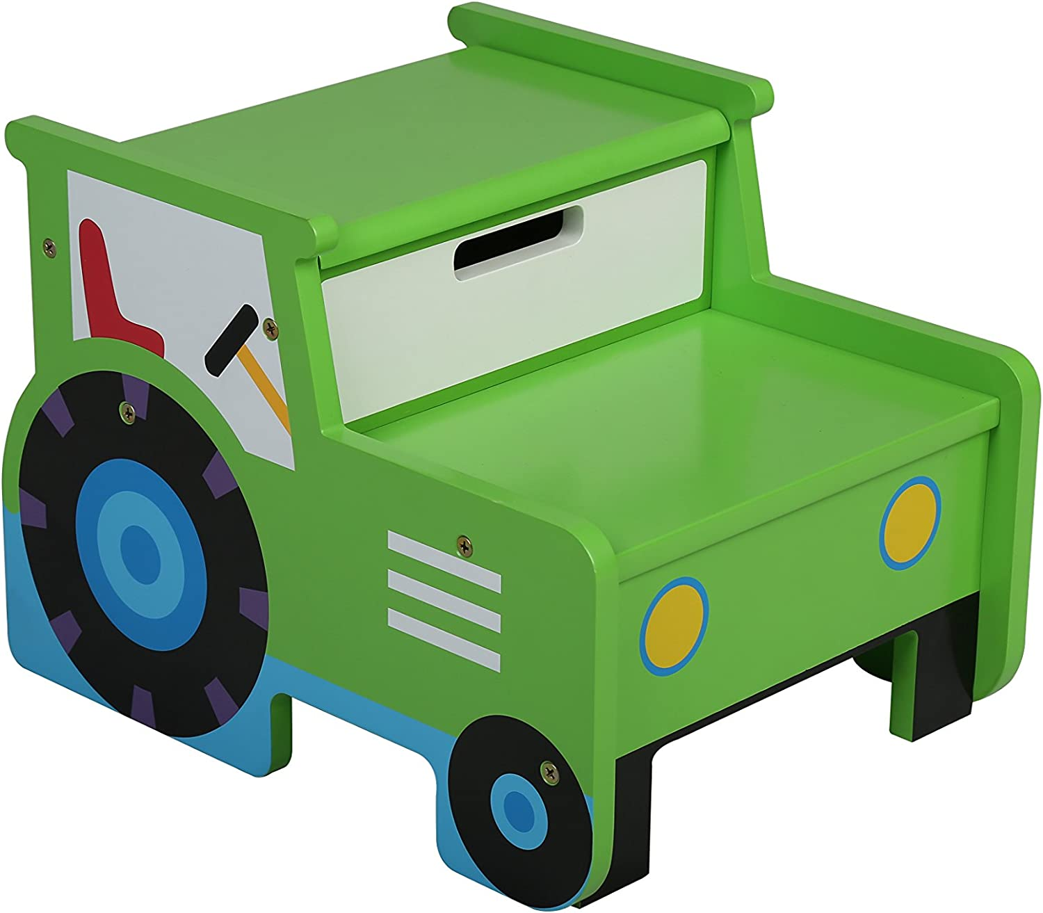 Olive Kids Tractor Step 'n Store Stool, Green