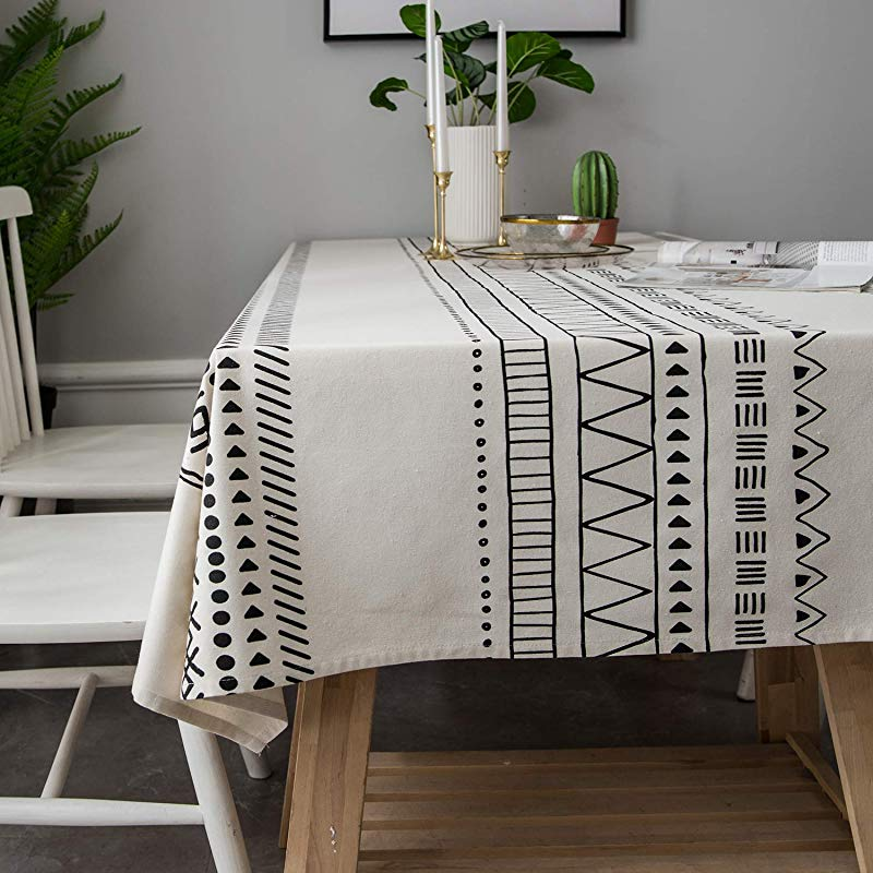 LINENLUX Stylish Square Rectangular Tablecloth Table Cover For Kitchen Dinning Tabletop Decoration White Geometry Rectangle Oblong 55 X 86 In