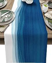 Vandarllin Wave Ocean Decor Dining Table Runner Non-Slip Table Decor for Dresser Kitchen Coffee Foyer Table, Blue White Re...
