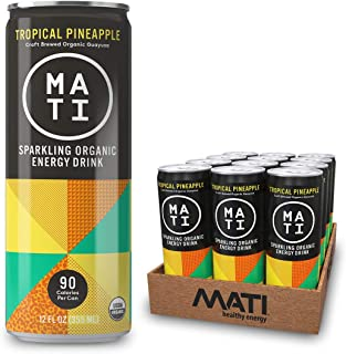 MATI Sparkling Organic Healthy Energy Drink, All Natural Craft Brewed Guayusa, No Added Sugar, Naturally Sweet, Tropical Pineapple, 12 Fl Oz Cans (Pack of 12) Plant Based, NON-GMO, Vegan, Antioxidants