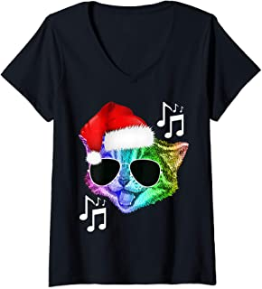 Womens Funny Colorful Rainbow DJ Music Kitty Cat Christmas Santa V-Neck T-Shirt