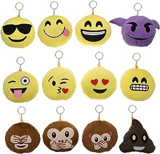 Bundle - 12pk Mini Emoji Hanging Plush Pillow Set Emoticons Cushion Toys Pack Smiley PoopKey Chains