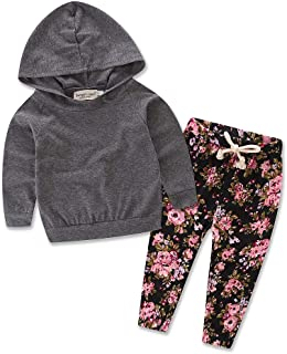 LXXIASHI 2Pcs Toddler Infant Baby Boy Girl Long Sleeve Hoodie Top + Floral Pants Outfits Set