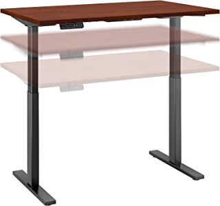 Move 60 Series by Bush Business Furniture 48W x 30D Height Adjustable Standing Desk in Hansen Cherry with Black Base