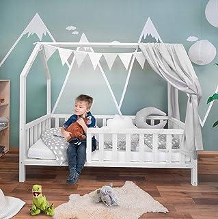 Extra-stabiles Hausbett 80 x 160 cm ModellFelix weiß, mit wasserbasierter Farbe und extra langem Rausfallschutz