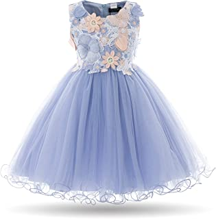 CIELARKO Girls Dress Kids Flower Lace Party Wedding Dresses for 2-11 Years