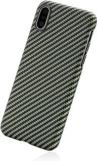「PITAKA」Magcase iPhone Xs 対応 ケース スマホケース 軍用防弾チョッキ素材アラミド繊維 超薄(0.65mm) 超軽量(14g) 5.8インチ 超頑丈 耐衝撃 高耐久性 スリム 薄型 ミニマリスト シンプル 高級なカーボン風 ワイヤレス充電対応 (黒/黄 ツイル柄)