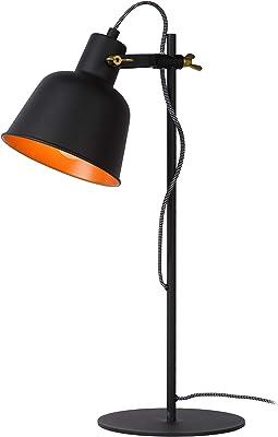 Lucide 45580/01/30 Lampe de table, Acier, 60 W, Noir, Or Mat