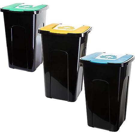 Made in EU f/ür Bio-//Plastik- und Glas Recycling 3x50 Liter aus recyclebarem Kunststoff M/ülleimer Abfalleimer je 56 x 36 x 36cm