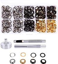 YoungRich 200 Set 400 Stück Tülle Metall Ösen Unterlegscheiben Kit in Taschen Schuhe DIY Basteln 4 Farben Erhältlich Durchmesser 1 cm Silber Bronze Gun Farbe Gold