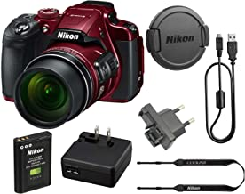 Nikon COOLPIX B700 20.2 MP 60x Opt Zoom Super Telephoto NIKKOR 4K Digital Camera Bundle Set w/ Rechargeable Battery, Charger, Euro Adapter etc (Red) (Renewed)