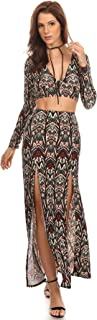 Womens Bianca - Tribal Patterned Crop Top and Maxi Skirt 2-Piece Set
