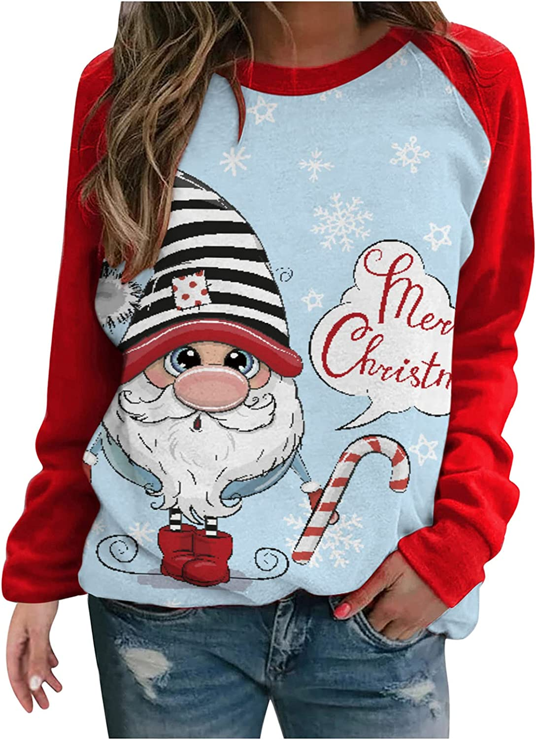 Christmas Shirts for Women Gnome Reindeer Graphic Splicing Tops Long Sleeve Sweater Plus Size Pullover Sweatshirts