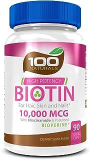Pure Biotin 10,000 MCG - Maximum Strength Vitamin B - Complex Supplement to Reduce Hair Loss, Improve Hair, Skin and Nail ...
