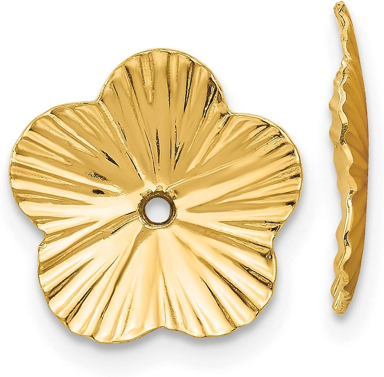 14k Yellow Gold Polished Fancy Earring Jackets 12x12 mm