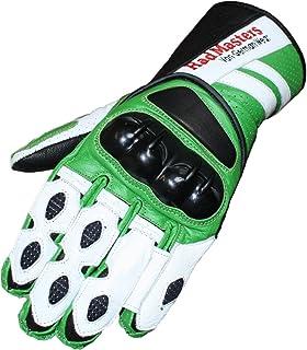 German Wear Motorradhandschuhe Motorrad Biker Handschuhe Lederhandschuhe, Größe:10=XL, Farbe:Grün