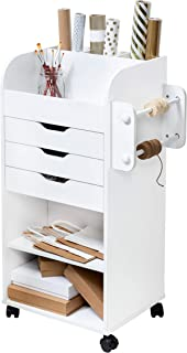 Honey-Can-Do CRT-06346 Rolling Craft Storage Cart with 3-Drawers, White, 19.13