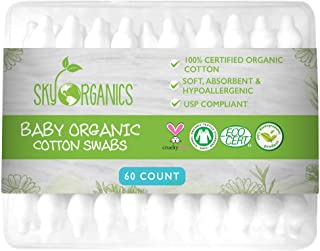 Baby Cotton Swabs (1 pack of 60 ct.), Organic Fragrance and Chlorine-Free Kids Safety Swabs, 100% Biodegrad...