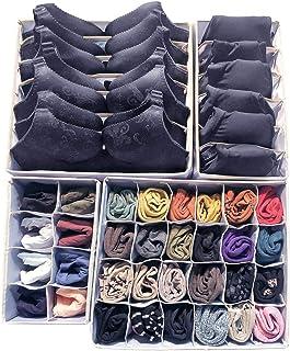 Huaute Lot de 4 organiseurs de tiroirs pliables et boîte de rangement pliable pour soutien-gorge, sous-vêtements, chausset...