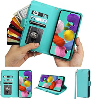 Cavor for Samsung Galaxy A51 4G Case,PU Leather Zip Pocket Wallet Flip Cover Case Magnetic Closure Book Design with Kickst...