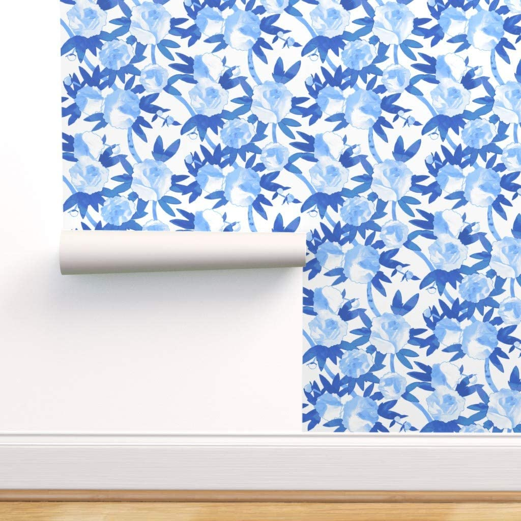 Removable 5 popular Water-Activated Wallpaper - Chinoiserie Blue Sales Watercolo