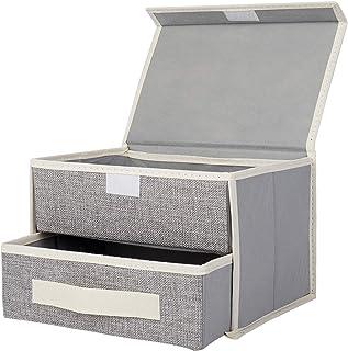 収納ボックス 収納ケース 下着収納ボックス インナーボックス RONRI 小物収納ボックス 靴下収納ボックス ふた付き 引き出し 2層 折りたたみ可能 不織布 下着 パンツ 靴下 ハンカチ 収納ケース
