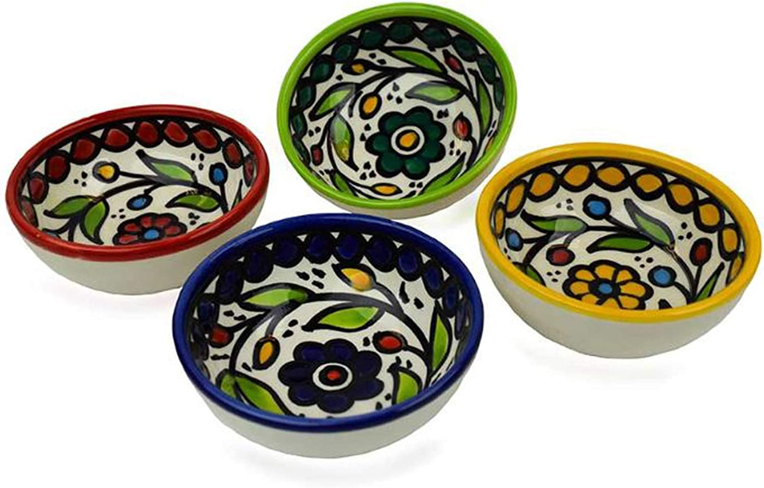 Bread Dipping or Condiment Bowls Set Superior of Hand Colorful Painted 4 Max 60% OFF