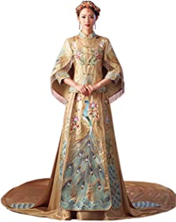 HangErFeng Chinese Wedding Dresses Embroidered Bride Cheongsam Long-Tailed Tang Costume Suit