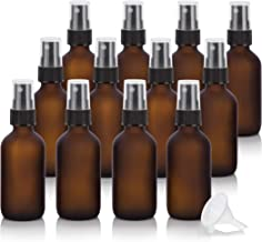 2 oz Frosted Amber Glass Boston Round Black Fine Mist Spray Bottle (12 pack) + Funnel for Essential oils, Aromatherapy, E-liquid, Food grade, BPA free