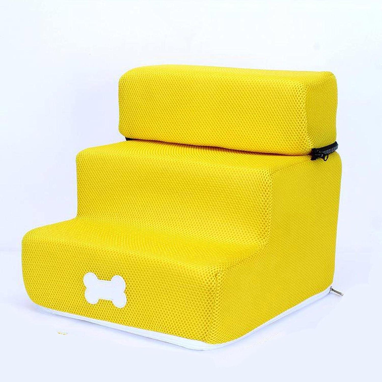 XRDSHY Escalera para Perros Transpirable, cómodo y Antideslizante Escalera para Perros pequeños 2 o 3 peldaños Desmontables Escalera para Mascotas Fácil de Limpiar,Yellow