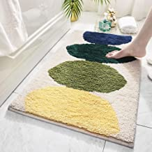 "Large Bath Rugs 32""x47"" Bathroom Mats for Decoration Non-Slip Water Absorbent Microfiber Shower Green Rug Doormats, Lemon ..."