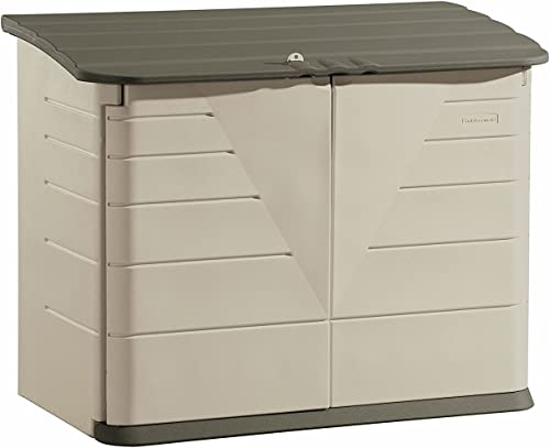Rubbermaid Large Horizontal Resin Weather Resistant Outdoor Garden Storage Shed, Olive and Sandstone