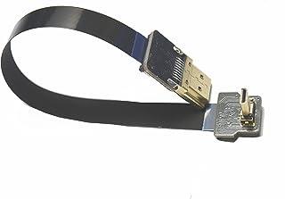 Cable Micro HDMI de 90 Grados FPV Plano Delgado y Delgado para GoPro Sony A7RII A7SII A9 A6500 A6300 (no para Sony A6000) Color Negro (20centimeters)