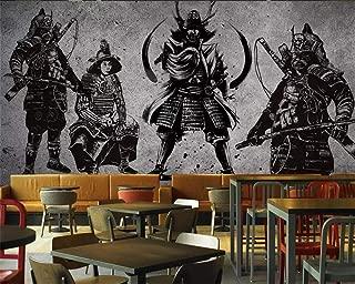 KAHSFA Wallpaper Vintage Hand-Painted Japanese Samurai Cement Wall Japanese Restaurant Mural Tooling Wall murals 3D Wallpaper