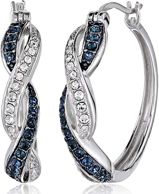 Women Fashion Elegant Creative Earring Surprise for Valentine's Day Birthday Anniversary AccessaryTwo-tone Fashion Women Alloy Rhinestone Ear Hoop Earrings Jewelry Accessory Gift