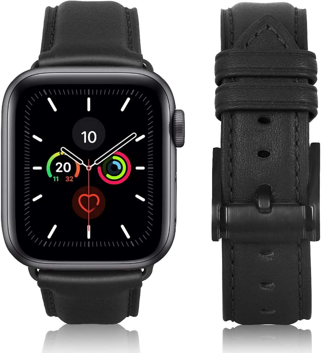 JIKE watch Bands Compatible with Apple Watch Band 38mm 40mm 42mm 44mm, Top Grain Leather Smart Watch Strap Compatible for Men Women iWatch Series 6/ 5 /4 /3 /2 /1,SE(Black/Black Buckle 42mm44mm)