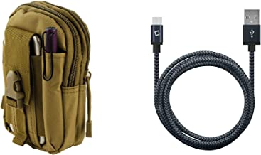 ZTE Midnight Pro 4G LTE - Bundle: Tactical EDC MOLLE Utility Waist Pack Holder Pouch (Tan), Heavy Duty Braided USB Data Sync Charger Cable (5 Feet / 1.5 Meters), Atom Cloth