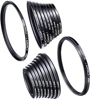 Filter Ring Adapter, K&F Concept 18pcs Camera Lens Filter Metal Stepping Rings kit (Includes 9pcs Step Up Ring Set + 9pcs Step Down Ring Set) Black