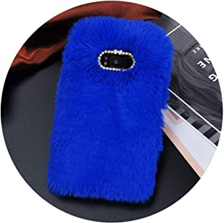 Luxury Fur Plush Diamond Phone Case for Samsung S6 S7 S6 S7 Edge S8 S9 Plus J5 J7 A5 A7 Lovely Cute Furry Warm Back Cover,Blue,for Samsung A7 2015