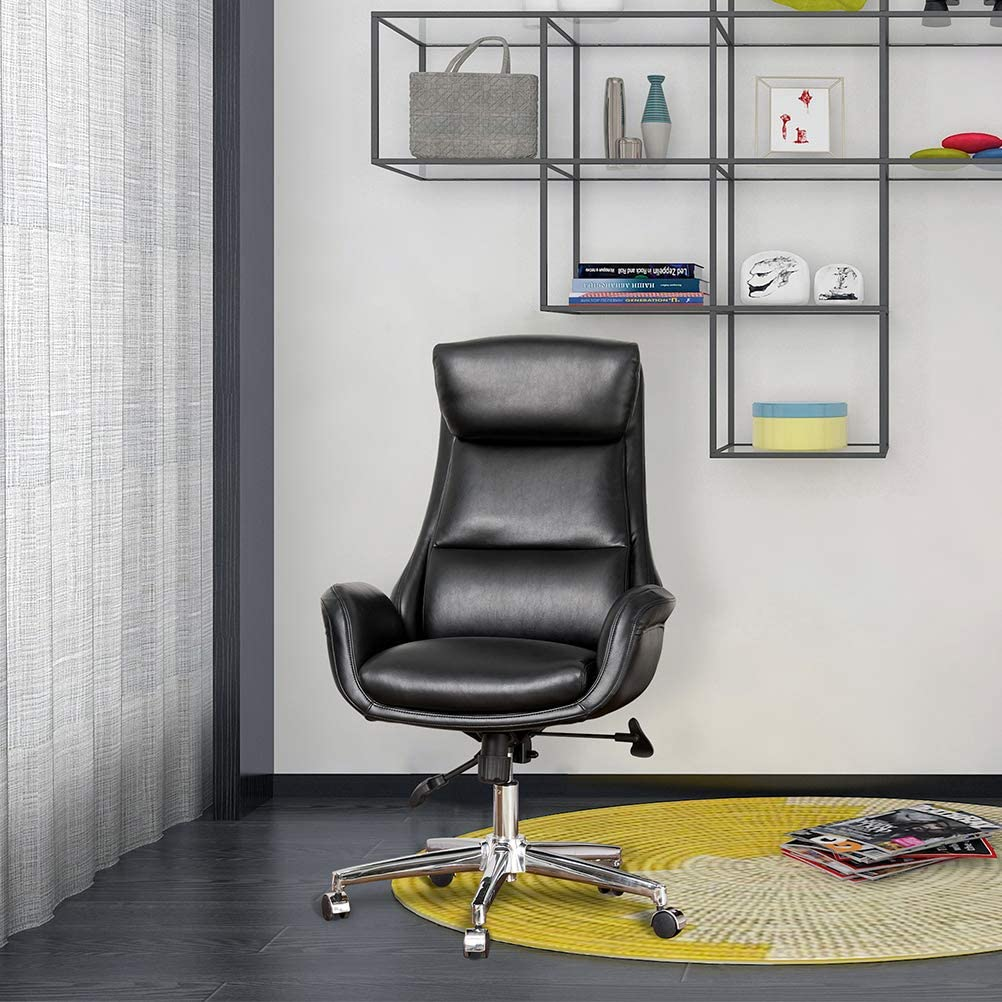 Glitzhome Mid-Century Modern Air Leatherette Adjustable Task Chair Swivel High Back Office Chair Computer Desk Chair with Armrest(Black)