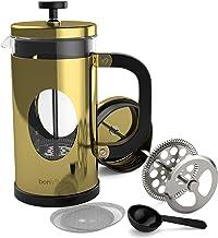 bonVIVO GAZETARO I Franse pers koffiemaker, koffiepers van roestvrij staal en hittebestendig borosilicaatglas, design Fran...