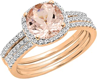 10K 6 MM Round Gemstone & Diamond Ladies Halo Engagement Ring With Double Band Set, Rose Gold