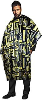 Best Betty Dain Vintage Print Barber Cutting Cape, Stylish, Lightweight Fabric Repels Hair, Classic Color and Pattern, Water-Resistant, Snap Neck Closure, Generous 45 x 60 Inch Size, Gold Review