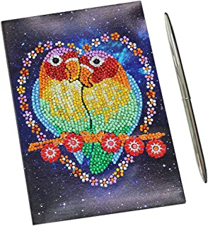 5D DIY Diamond Painting Cover Novelty A5 Notebook Diary Book and Metal Ballpoint Pen Stationery Set Gift for Women Girls Children Adults(Heart Parrot)