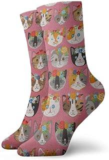 Calcetines de algodón unisex con diseño de gatos de animales, multicolor